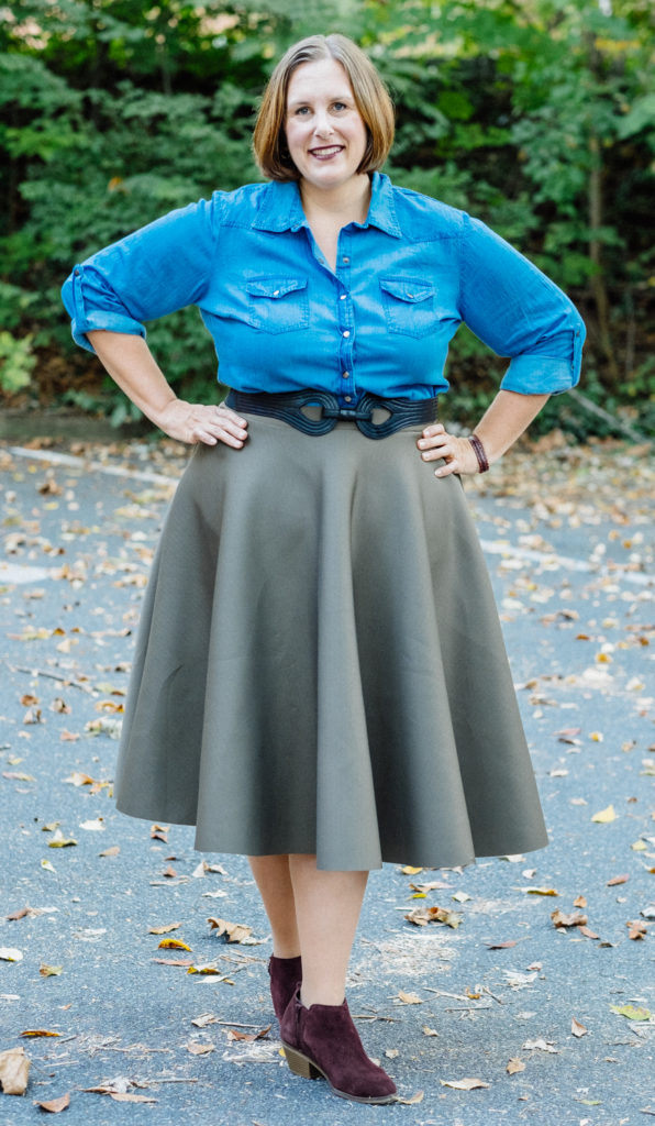 Olive midi with Denim